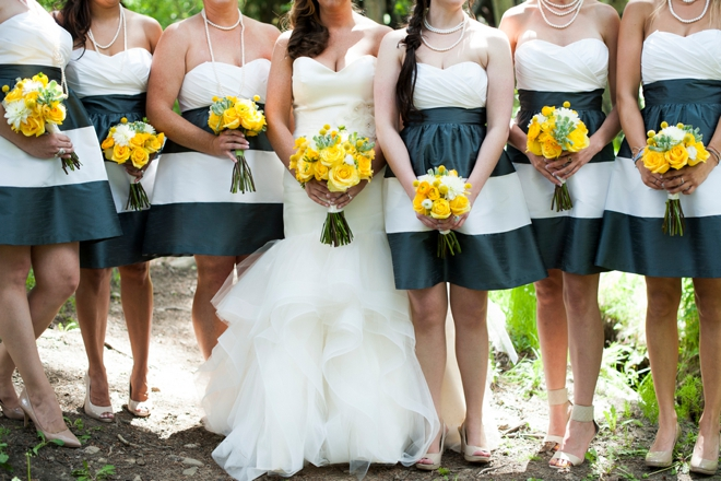 Awesome navy and white striped bridesmaid dresses