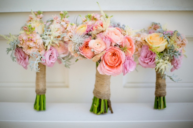 Gorgeous colorful wedding bouquet for a beach wedding