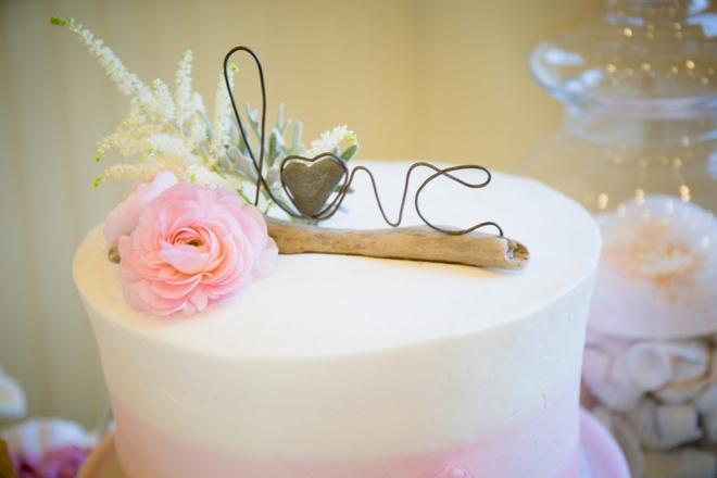 Driftwood love cake topper