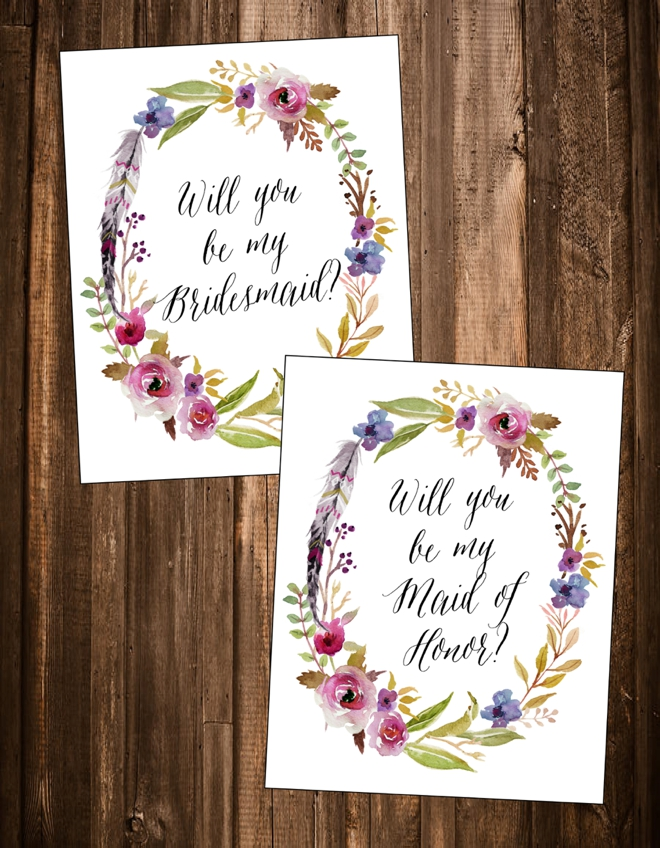 """Free """"Will You Be My Bridesmaid"""" Cards"""