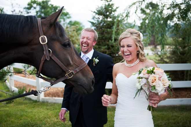 Bride and groom and horse