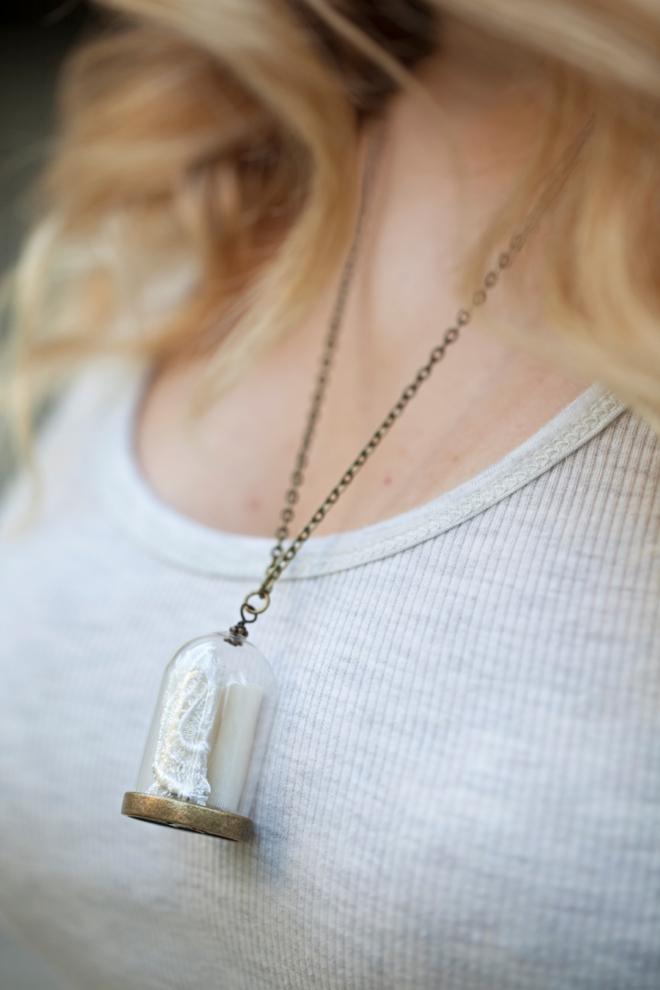 Make your own wedding dress keepsake necklace