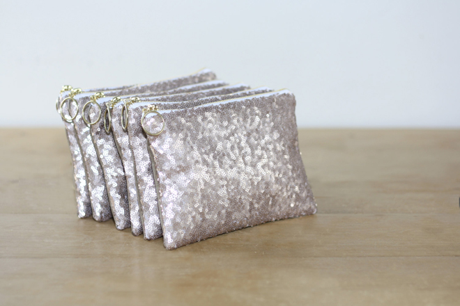 Champagne sequin bridesmaid clutches