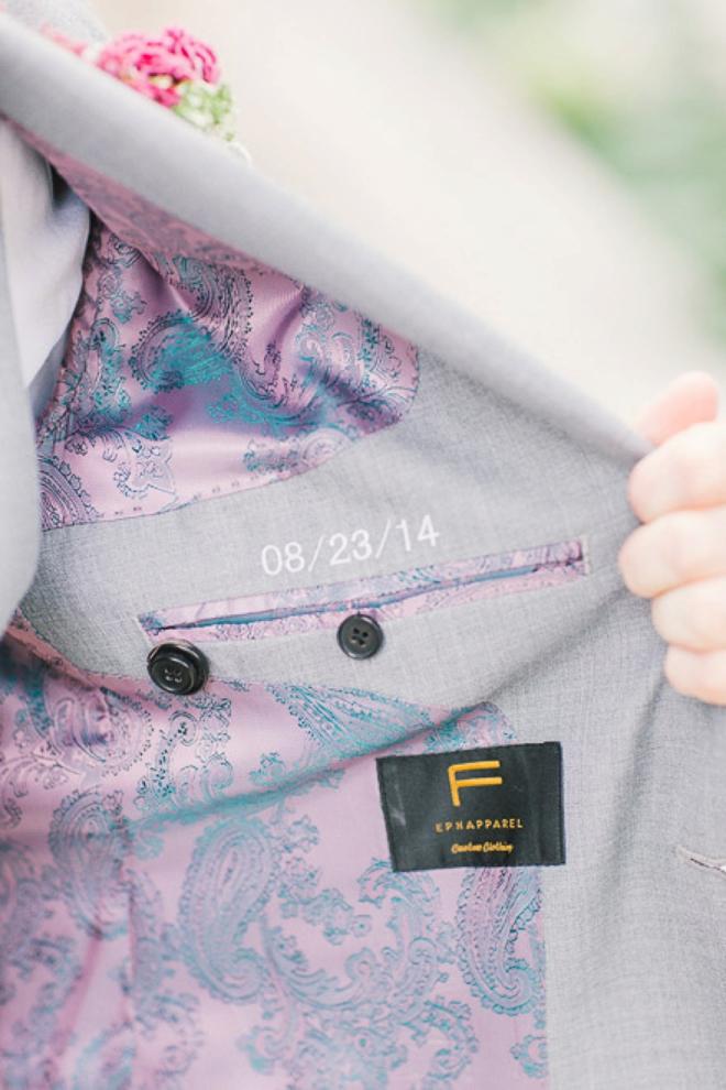 Wedding date inside grooms lapel