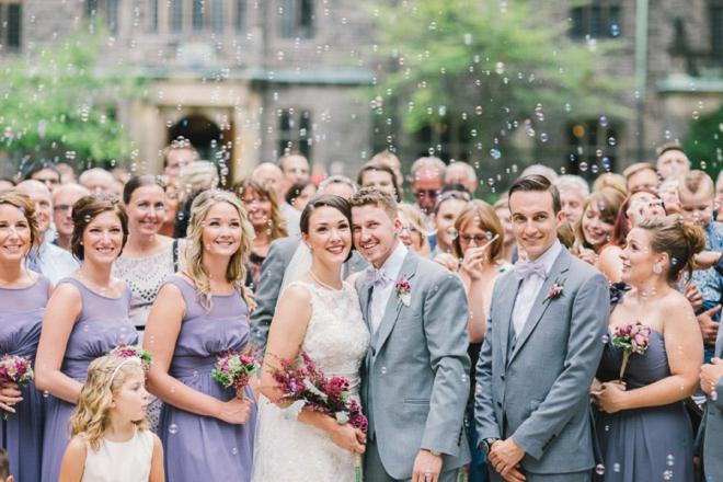 Wedding portrait with bubbles