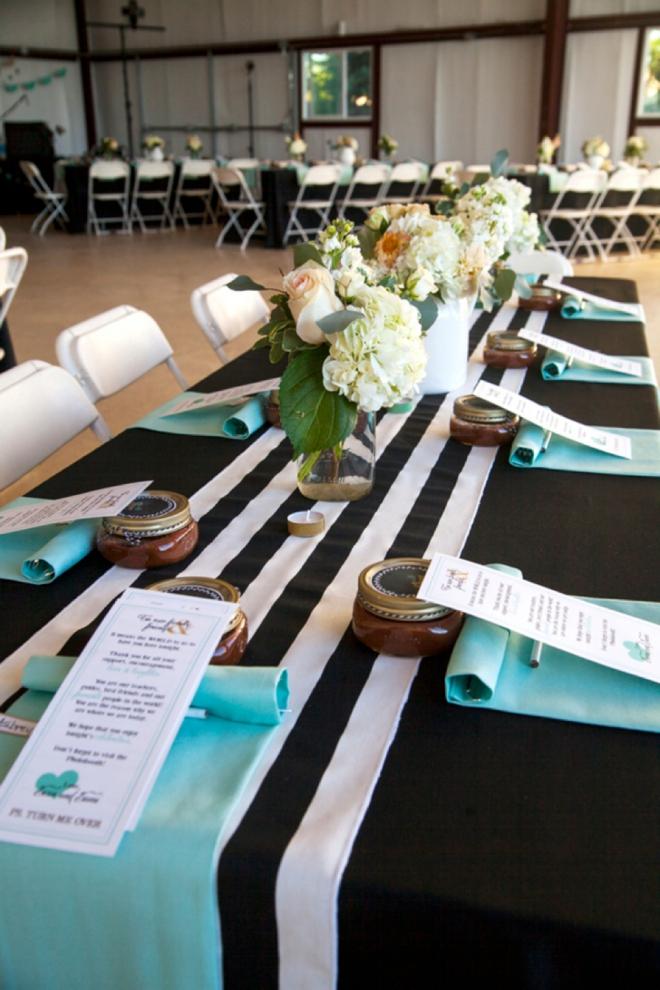 Turquoise and black wedding decor