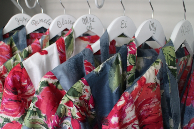 Custom bridal party robes and hangers