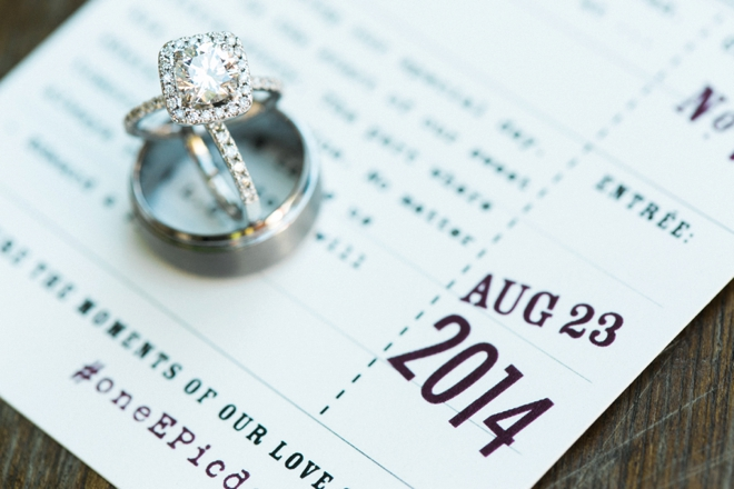 Wedding ring shot on the wedding invitation