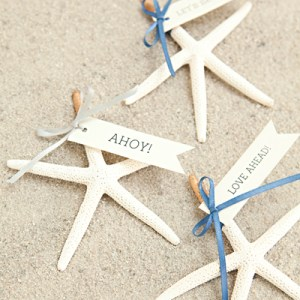 DIY Gold-tipped starfish seating cards