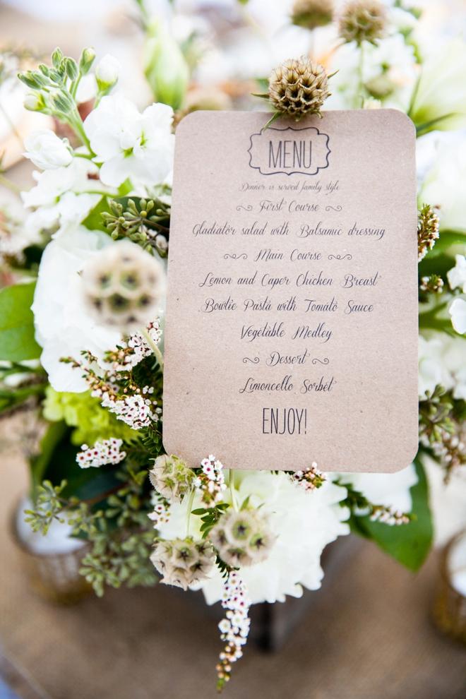 wedding menue