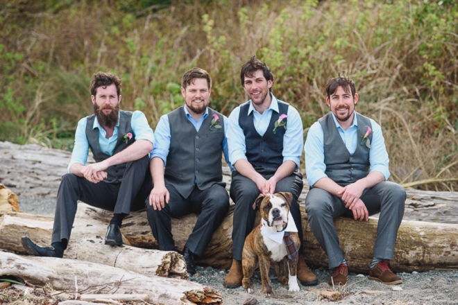 The groomsmen and a dog