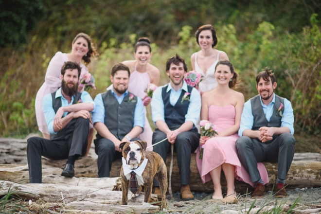Bridal party and dog with tie