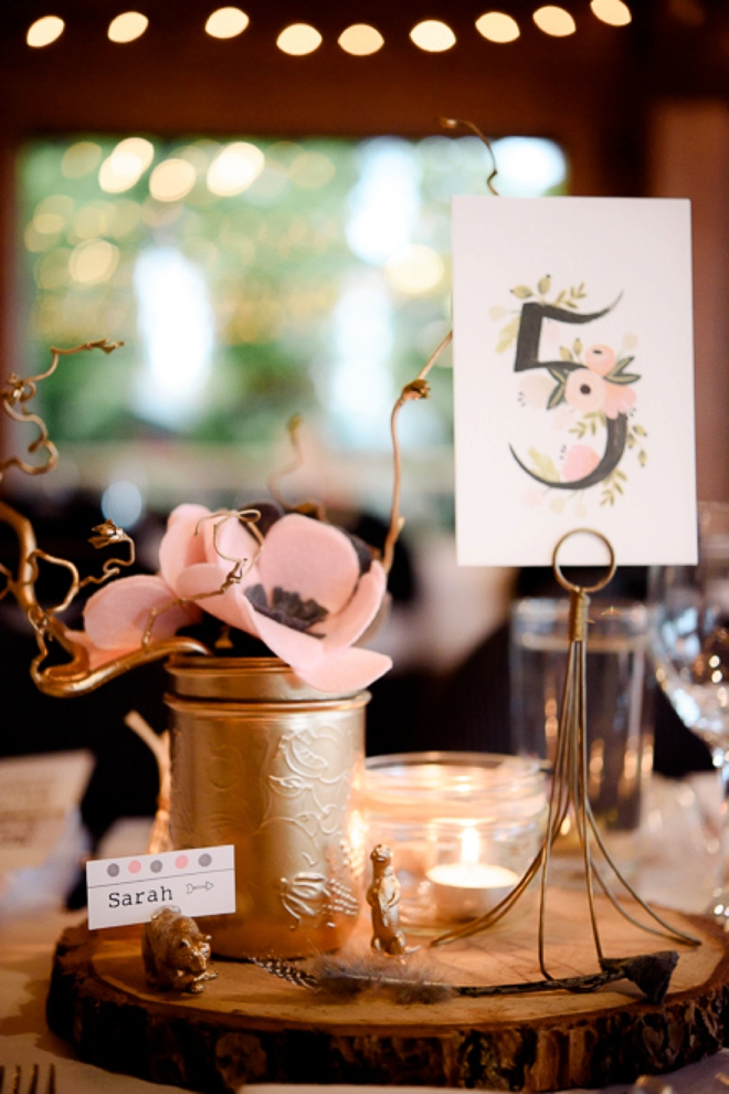 DIY felt flower wedding decor and table number
