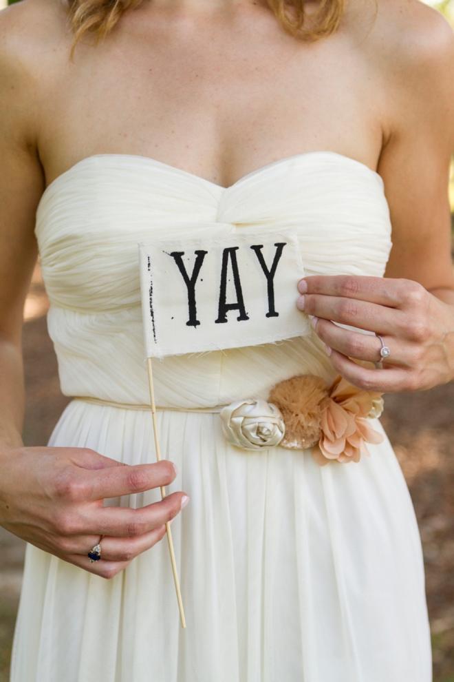"Adorable ""yay"" wedding flag"