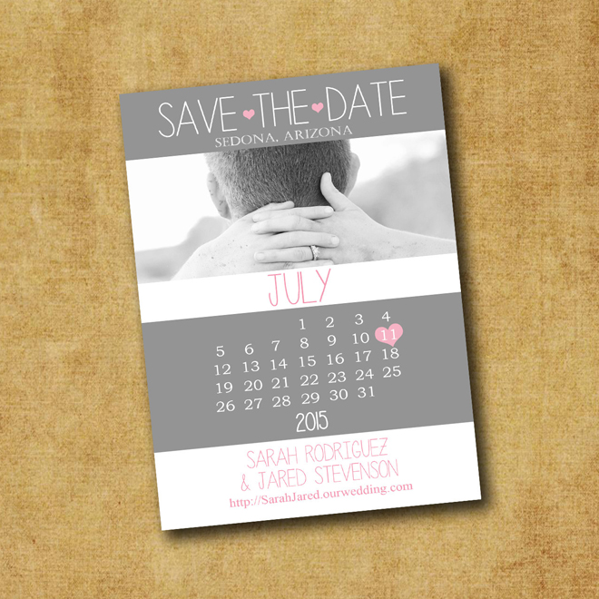Printable Save The Date Calendar Invitation from Wedinfinity