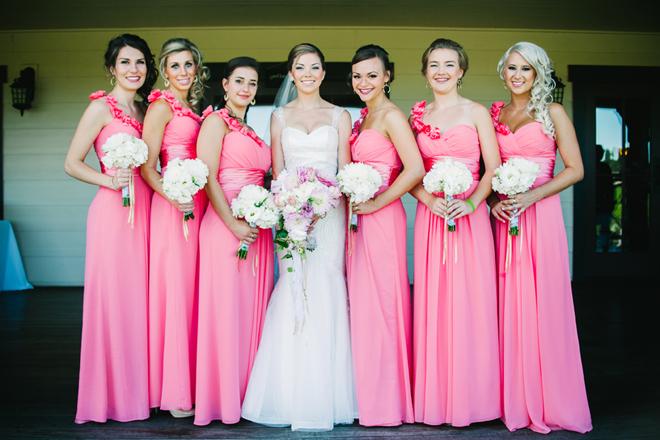Beautiful pink bridesmaids
