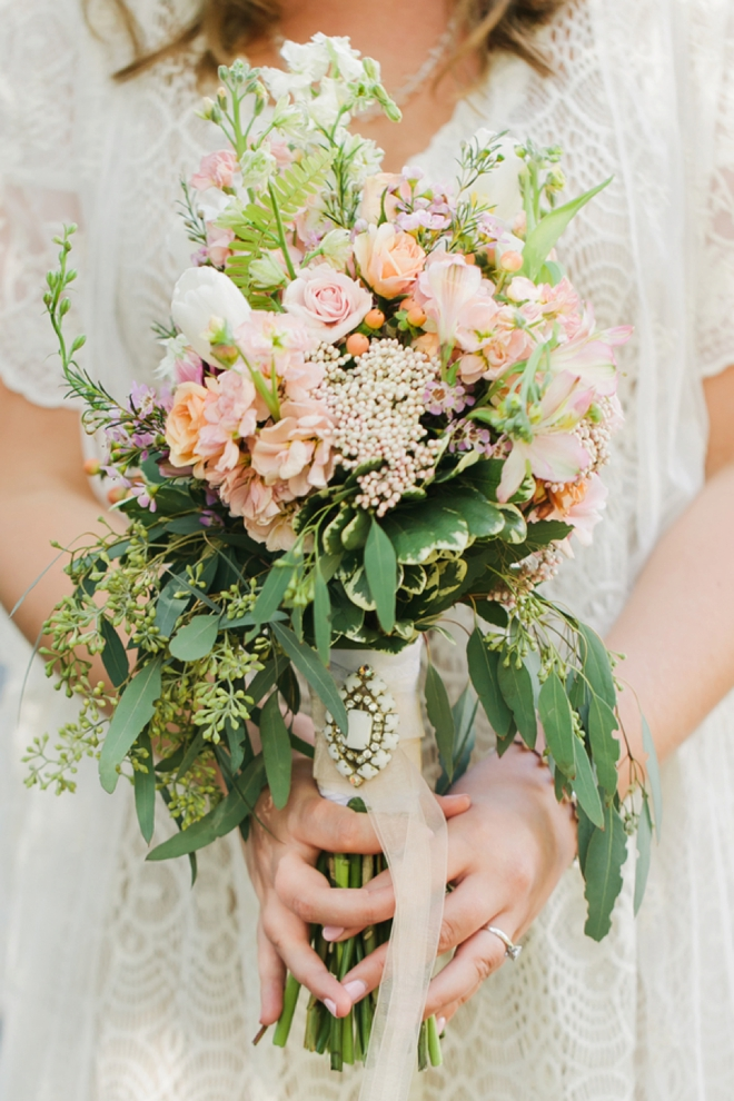 Lovely wedding bouquet with charm