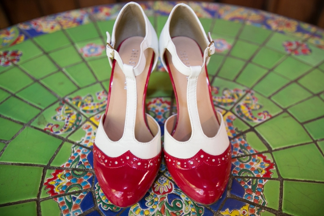 Red, retro wedding shoes