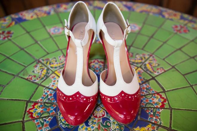 Red, retro wedding shoes