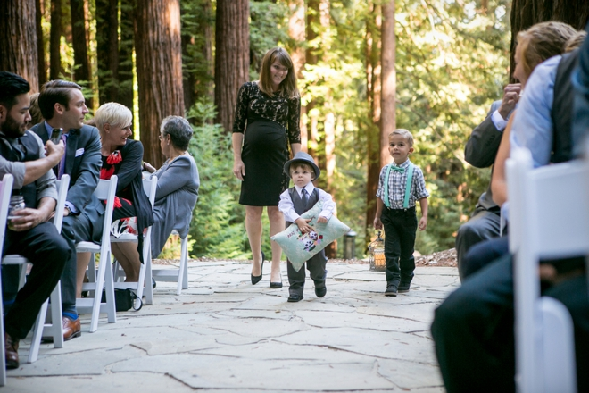 Ring bearer carrying a large pillow
