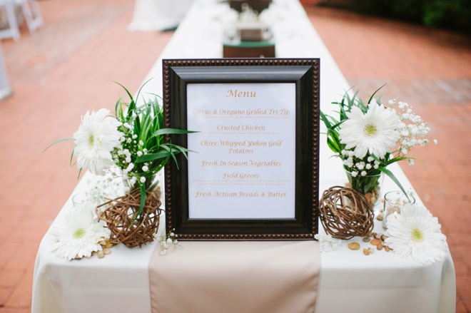 Handmade wedding menu sign