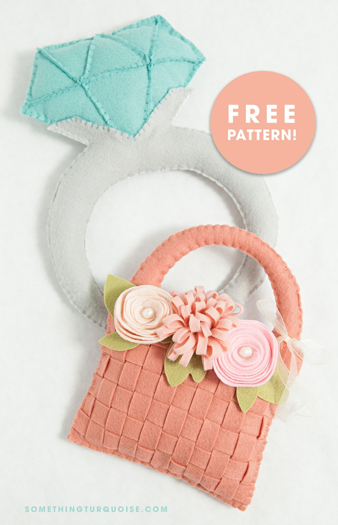 Bricolage DIY especial sentiu anel de diamante e padrões de cesta de florista!