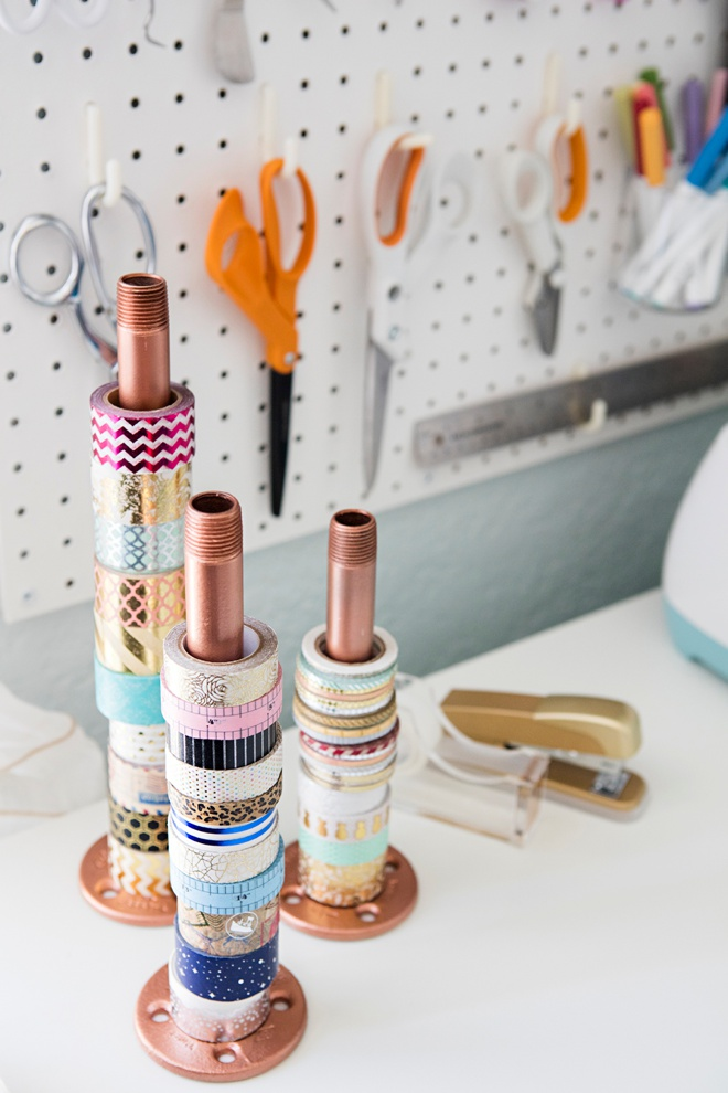 Gas pipe painted copper to hold washi tape!