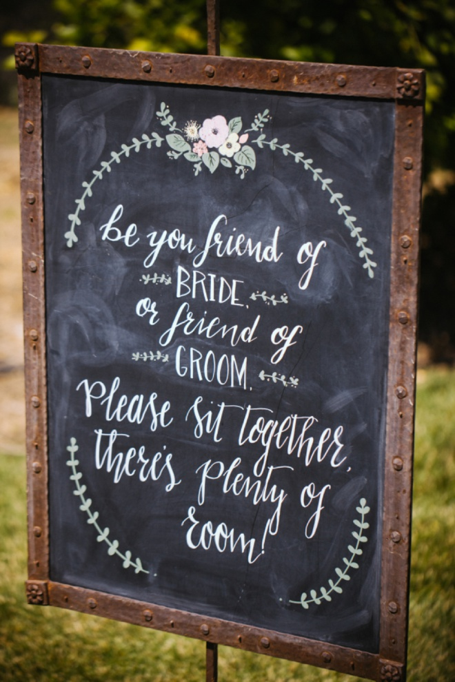 Be you a friend of the Bride or a friend of the Groom, Please sit together there's plenty of room!