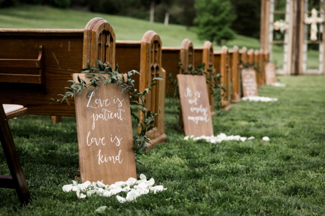Love is patient, Love is kind - awesome wedding aisle signs.