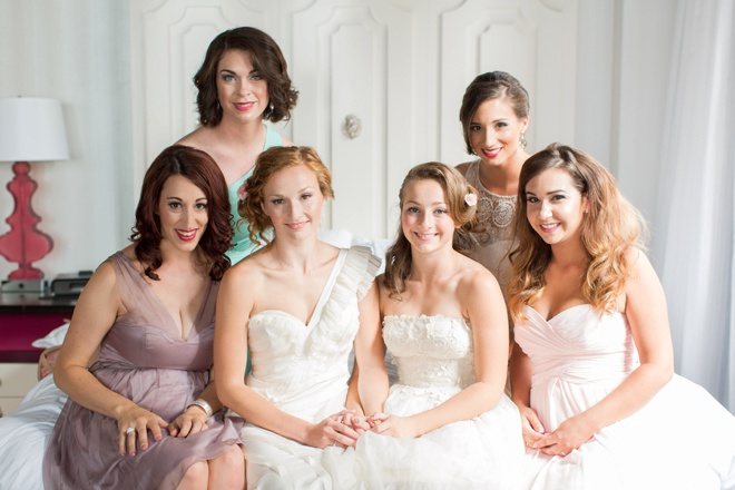 The bride and her beautiful maids.
