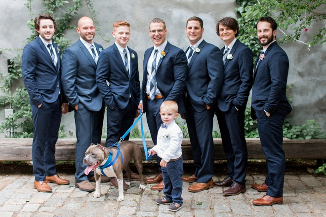 The groom and his men, also his dog.