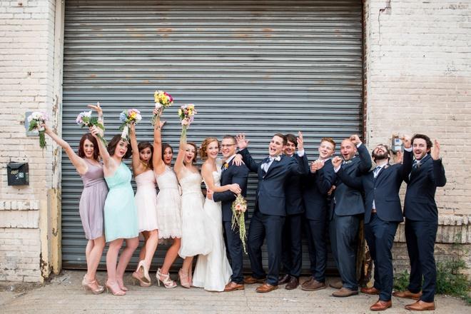 Super fun wedding party, celebrating.