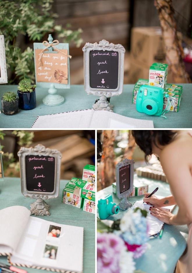 Darling polaroid guest book idea!