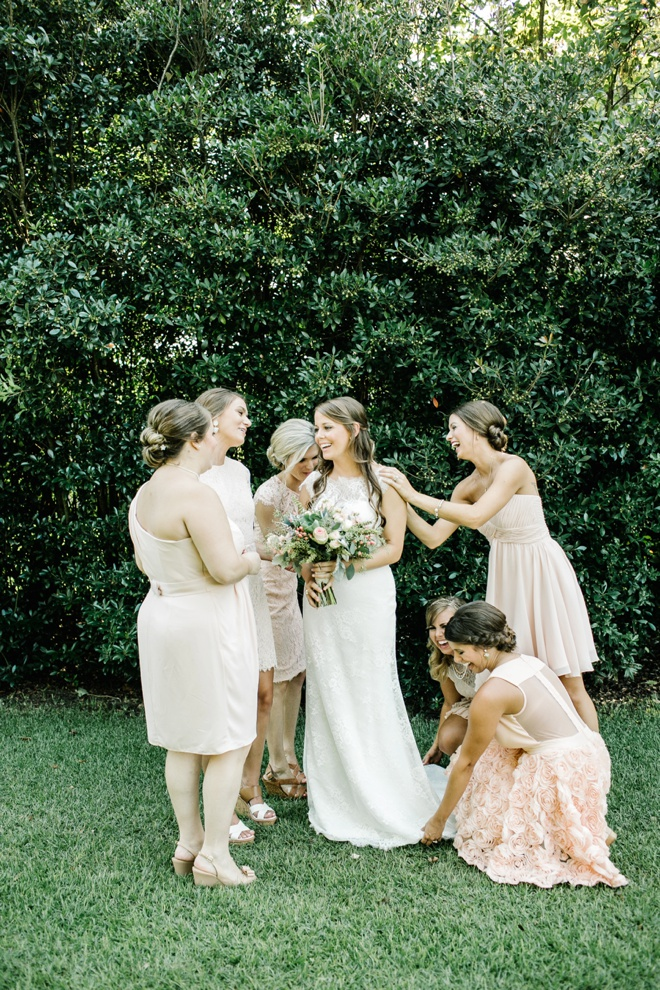 Gorgeous pale pink + ivory bridesmaids dresses...