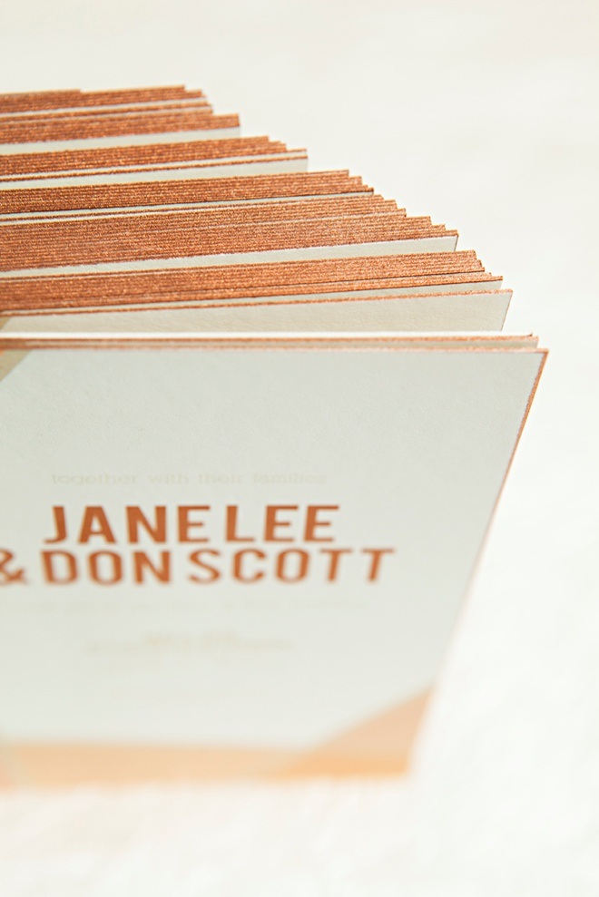 How to spray paint the edges of your wedding invitations copper!