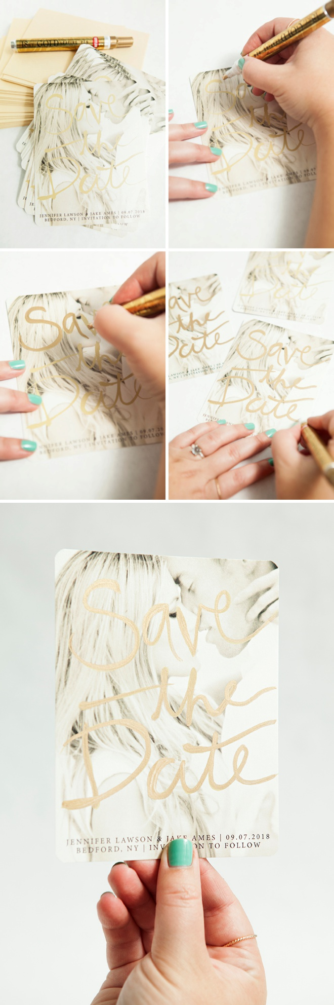 How to add gold leaf lettering to your Save the Date invitations!