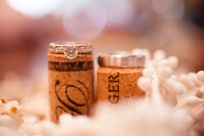 Wedding rings shot on corks