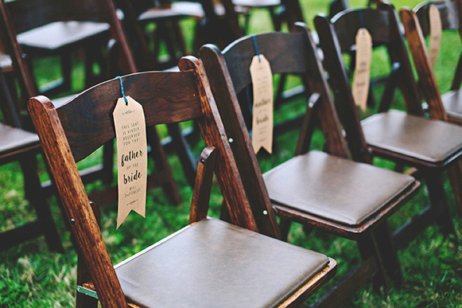 How to make your own wedding ceremony chair reserved signs, with free printables!