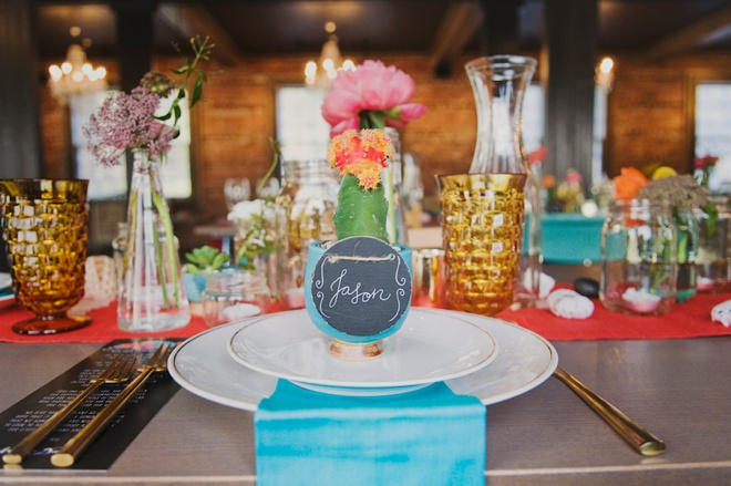 Darling, colorful cactus and pottery themed wedding reception!