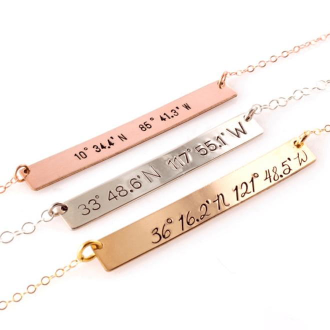 Custom Coordinates Bar Necklace