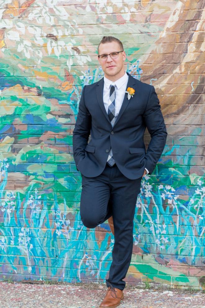 Handsome groom attire.