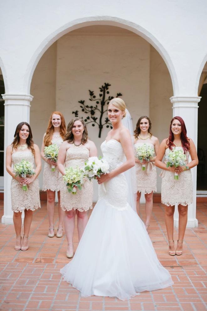 Gorgeous lace bridesmaid dresses.