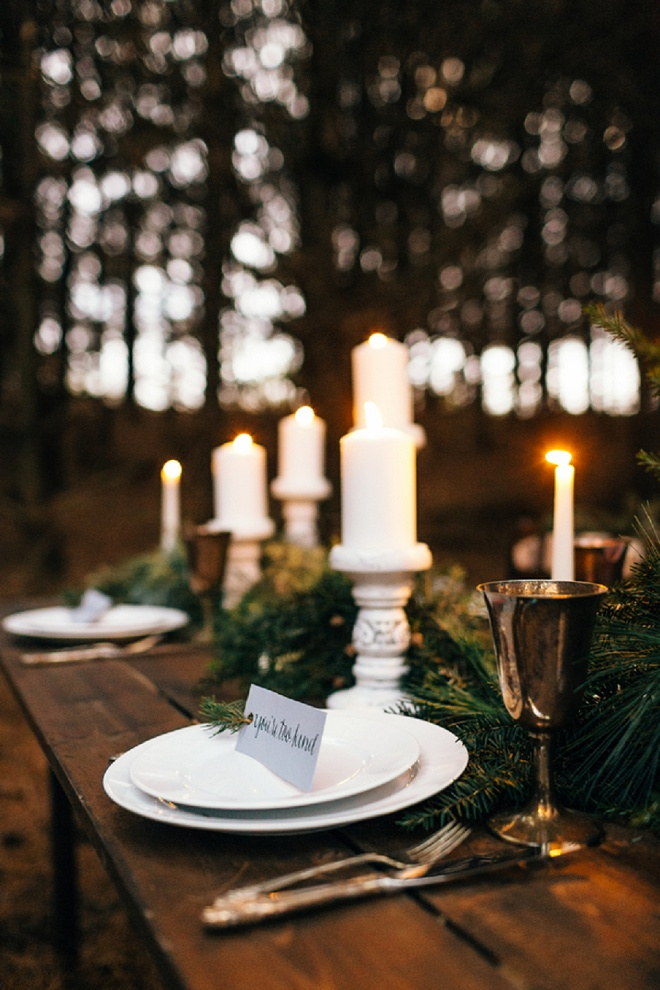 Gorgeous candle-lit outdoor dinner