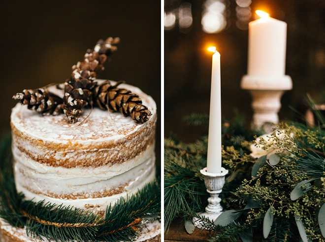 We love this rustic cake with pine cone cake topper!