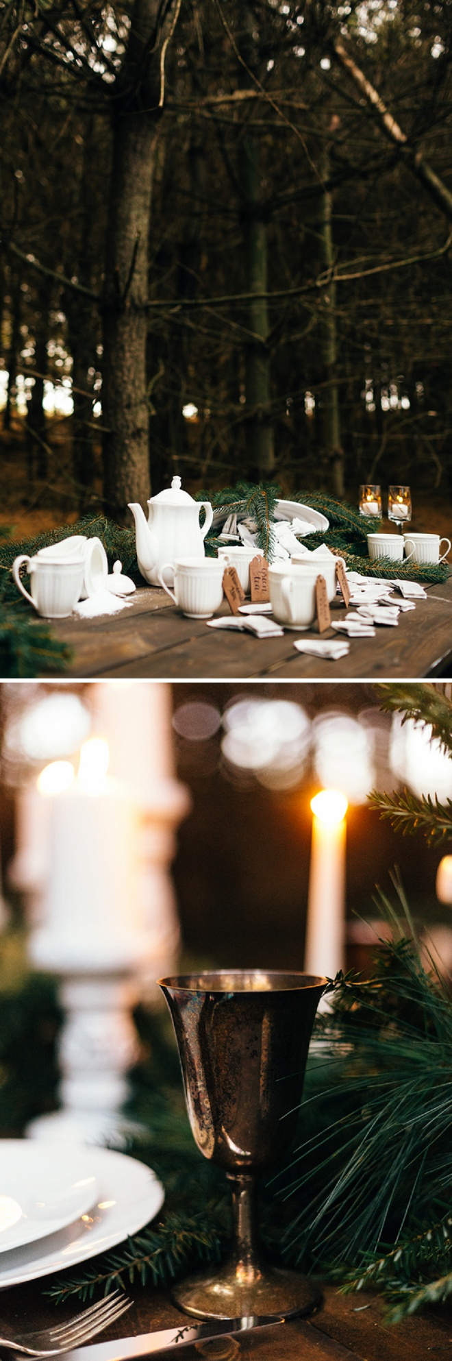 We love this darling styled shoot featuring tea and pine!