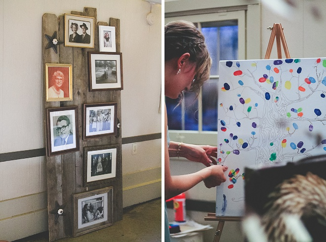 Love this bride's thumbprint DIY guestbook canvas!