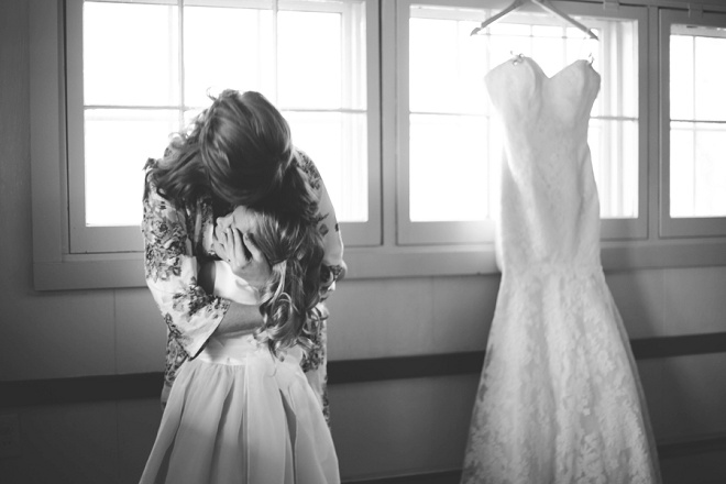 Touching moment with bride and daughter