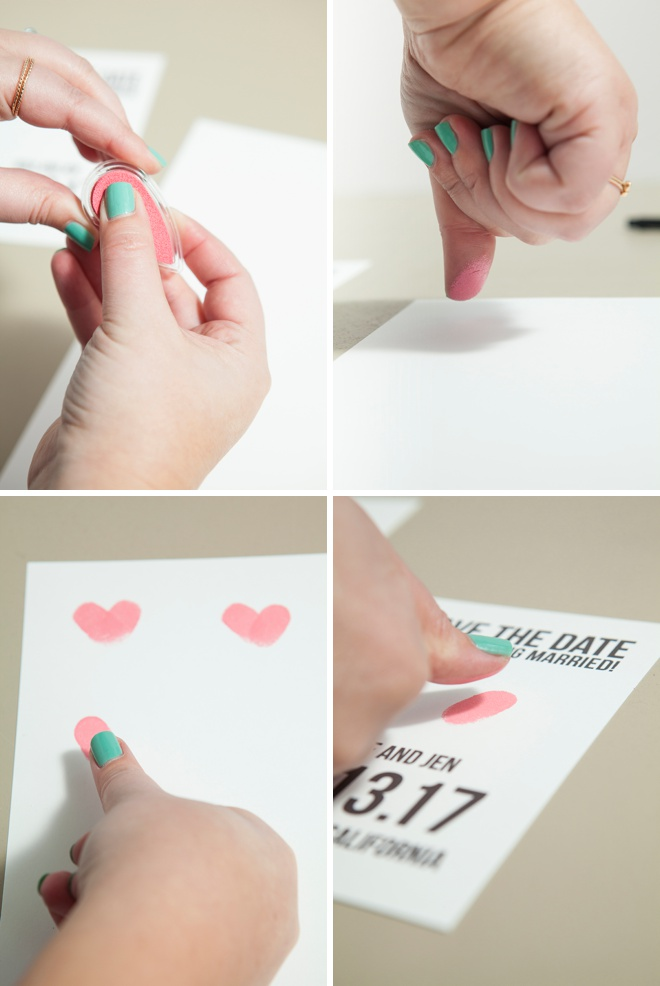 Adorable, free save the date invitations using thumbprints!