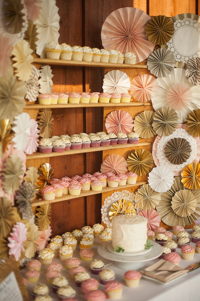 Loving this gorgeous dessert table filled with cupcakes!