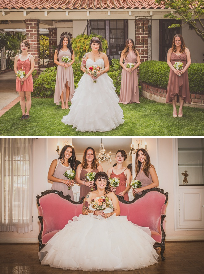 A bride and her bridesmaids looking gorgeous!